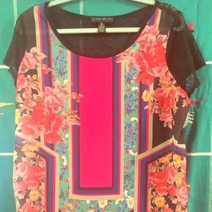 XL Bright multi Forever21 Geometric & Floral Top